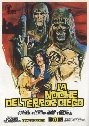 Cartel de la primera película de la saga: La Noche del Terror Ciego (1971)