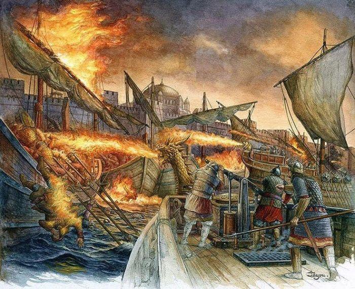 Defendiendo Constantinopla con Fuego Griego