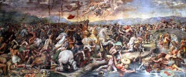 La batalla del Puente Milvio (1520-1524) por Giulio Romano