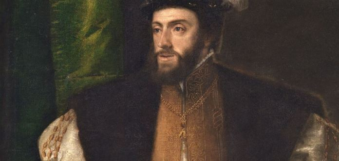 """[detalle] """"El emperador Carlos V con un perro"""" (1533) Tiziano. Museo Nacional del Prado"""