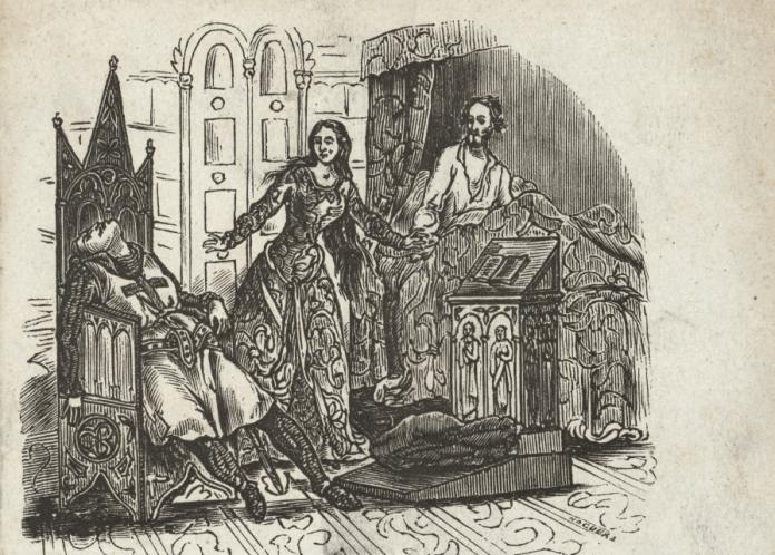"""Grabado de """"Los amantes de Teruel"""" de 1861 (Noguera)"""