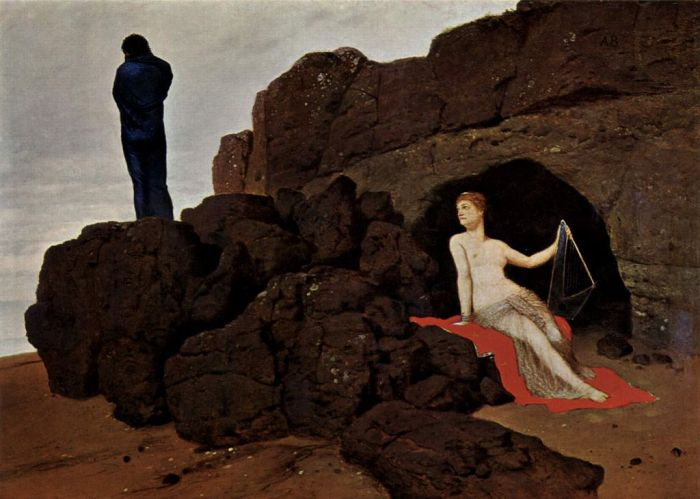 Óleo en lienzo de Arnold Böcklin: Odiseo y Calipso (Odysseus und Kalypso, 1883). Museo de Arte de Basilea.