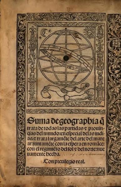 Suma de Geographia de Martín Fernández de Enciso, publicada en Sevilla en 1519.