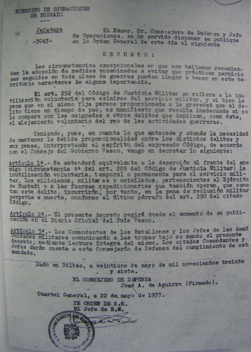 Decreto firmado por José Antonio Aguirre en 1937.