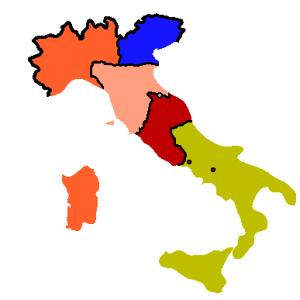 Estados italianos en 1860 con la confederación de estados centrales