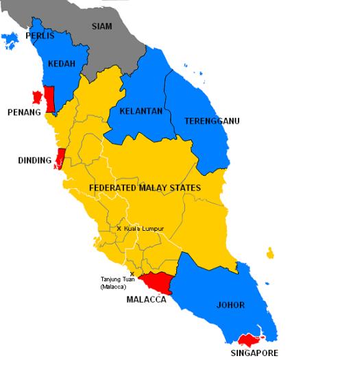 Amarillo: Estados malayos federados // Azul: Estados malayos no federados // Rojo: Establecimientos estrechos //