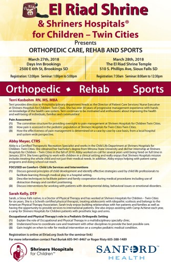 El Riad Shrine Orthopedic seminar 2018 1 11x17 poster