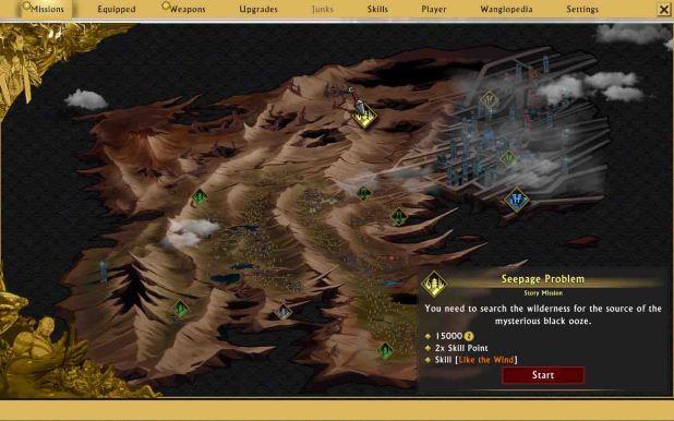 El mapa del mundo, con las indistinguibles misiones principales y secundarias.