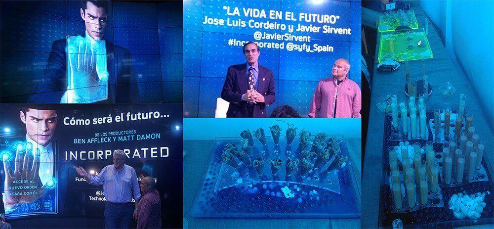SyFy presenta la serie 'Incorporated' Romay Jose Luis Cordeiro, Javier Sirvent y el cocktail