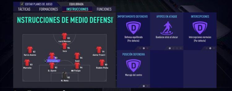 Instrucciones de Medio Defensivo Fifa 21