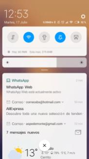 MIUI 10 barra de notificaciones