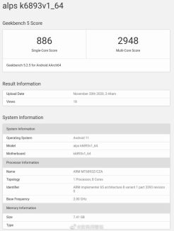 Mediatek-MT6893-Geekbench-erdc