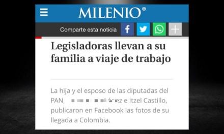 LA DOBLE MORAL DE DIPUTADA ITZEL CASTILLO, SE LLEVÓ DE VACACIONES (CON RECURSOS PÚBLICOS) A COLOMBIA A SU ESPOSO: AHORA PRETENDE YA NO GASTAR EN EL Y LO PROMUEVE ¡PARA DIRIGIR AL PAN!