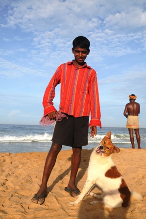 Michael and his dog, Jimmy. We used to walk on the beach or to the village, looking for nice pictures. Jimmy also used to come in the mornings with me and my puppy for a walk...
