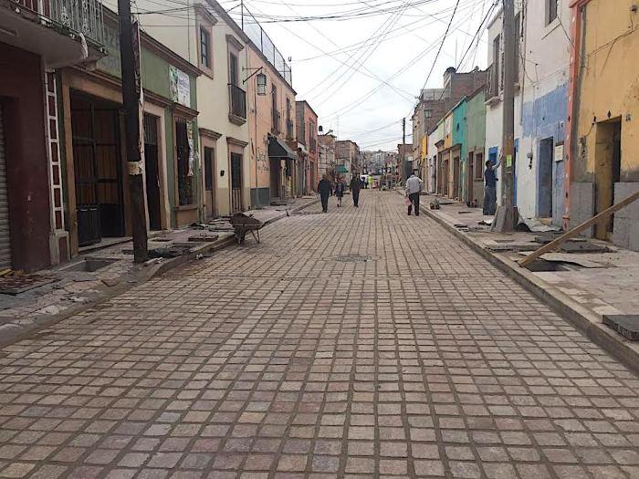 Obras de remodelación del programa Pueblos Mágicos en la calle Hidalgo