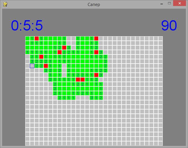 Интерфейс игры сапер