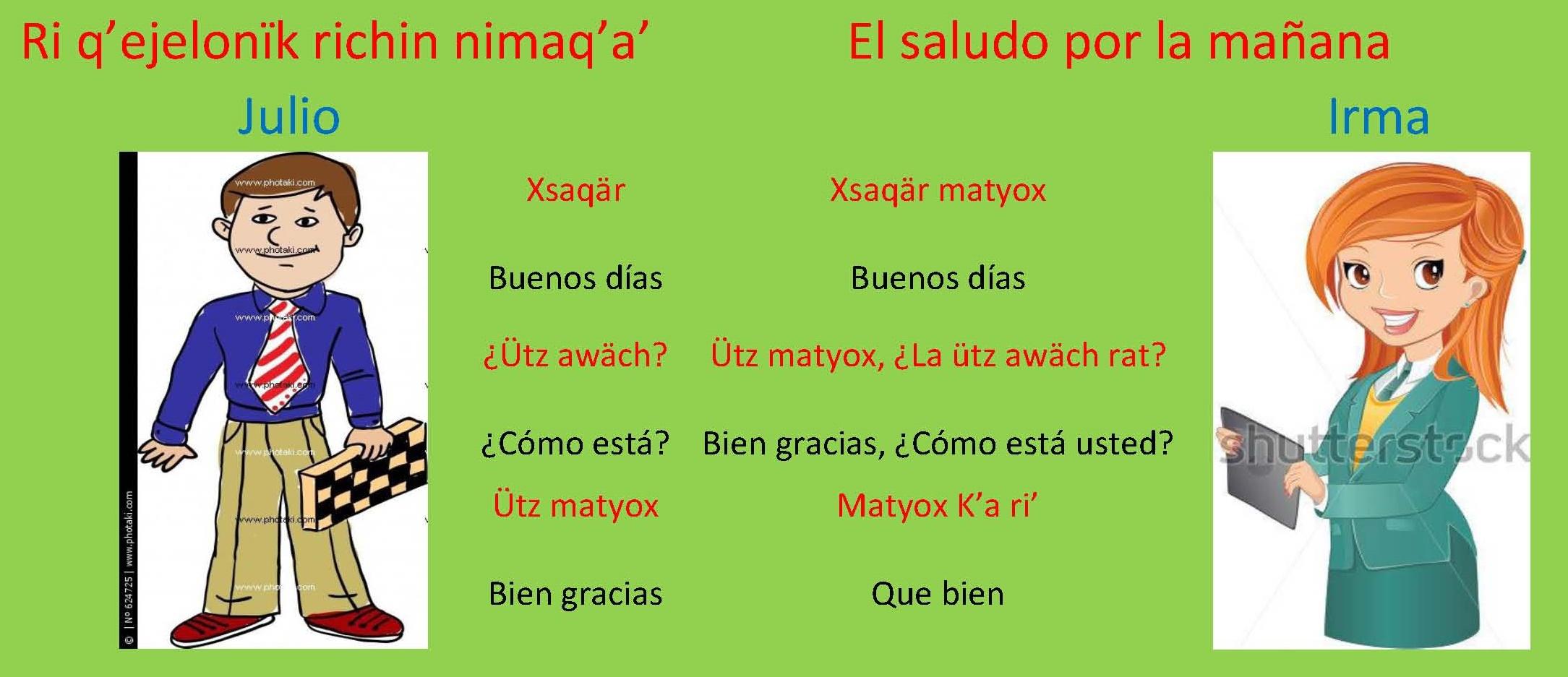 Veamos Los Saludos En El Idioma Maya Kaqchikel
