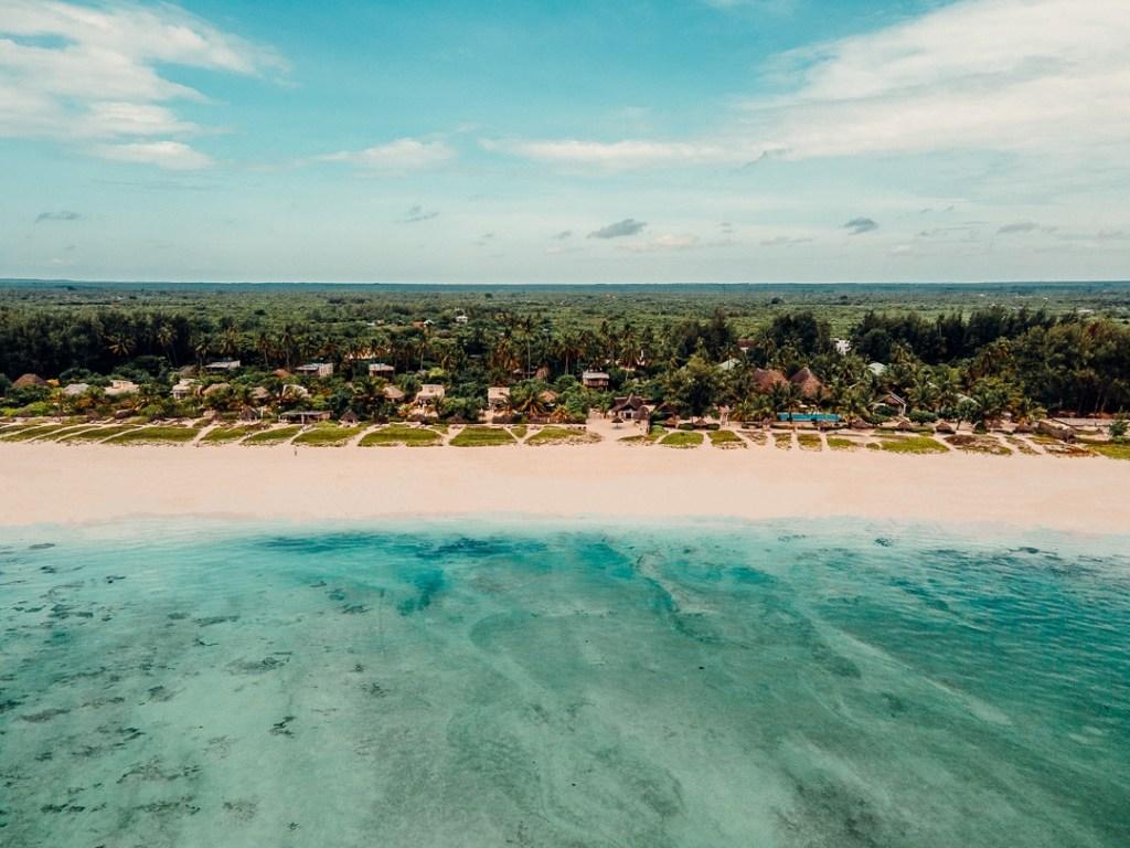 drone white sand zanzibar