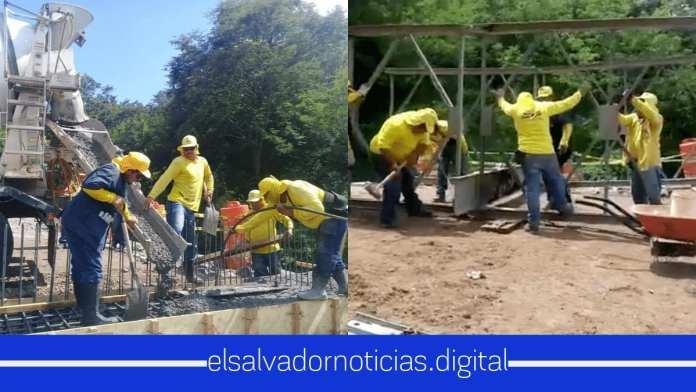 MOP pavimenta el acceso al puente que se construye entre San Isidro y Torola, Morazán