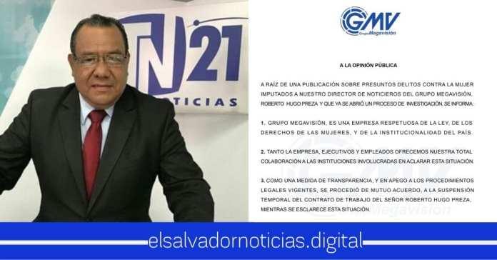 Megavisión suspende a Hugo Preza por acusaciones de acoso sexual