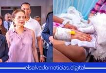 Mamá del Presidente Nayib Bukele visitó a niños del Hospital Nacional Zacamil para llevarles regalos