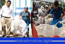 """Salvadoreños en el segundo día del """"Reto Recicla"""" llegan con grandes cantidades de botellas para recibir $0.05 por cada una"""