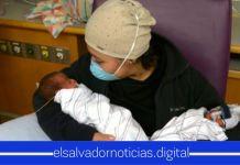 Salvadoreña conoce a sus gemelitos recién nacidos tras vencer el mortal COVID-19