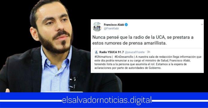 Ministro Francisco Alabi desmiente rumor de la radio de la UCA, sobre supuesta renuncia
