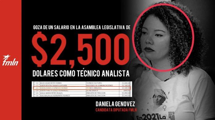 Candidata a diputada del FMLN recibe jugoso salario por defender la corrupción de su partido