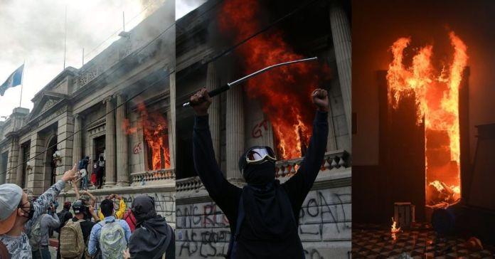 Caos, Ciudadanos quieren quemar a los diputados corruptos en Guatemala