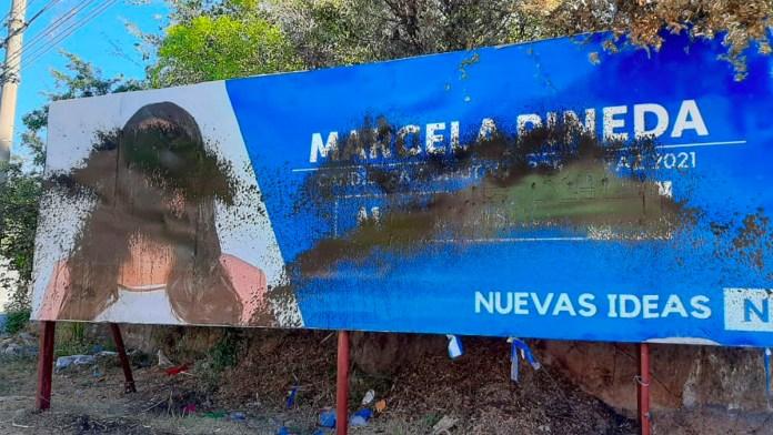 Oposición vandaliza propaganda de nuevas ideas. Como en el caso de María Marcela Pineda candidata a diputada por el departamento de La Paz
