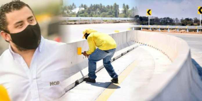 Equipo de Obras Públicas continúa con los trabajos de señalización y colocación de separadores del último tramo del Bypass de La Libertad