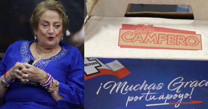 Milena de Escalón regala cajas de pollo a cambio de votos a los habitantes de Santa Ana