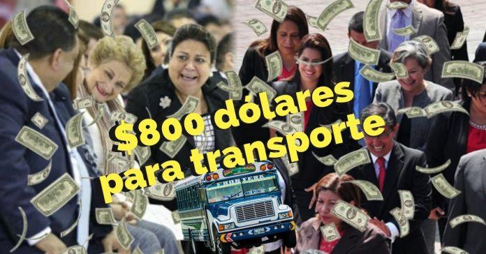 Diputados reciben $800 al mes solo para pago de transporte Diputados reciben $800 al mes solo para pago de transporte