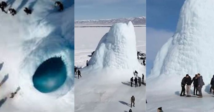 Se forma gigantesco volcán de hielo en el desierto de Kazajistán