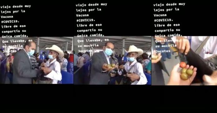 Bello abuelito recibió vacuna contra el COVID-19 y compartió su única comida que cargaba en su comida que eran jocotes