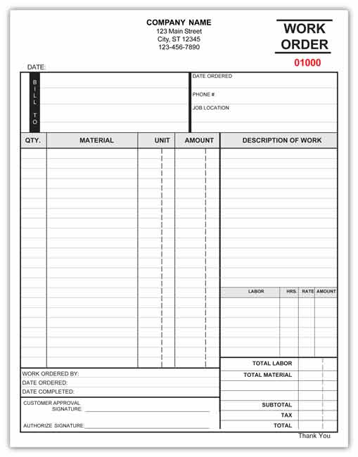 work orders template