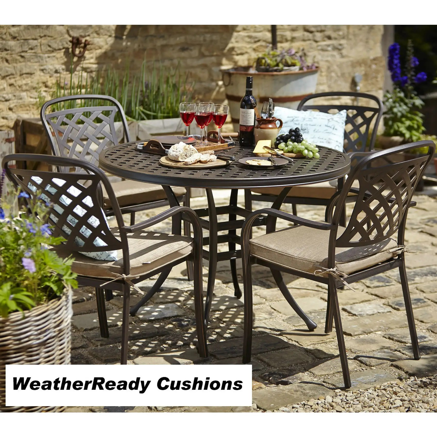 Hartman Berkeley 4 Seat Round Table Set BronzeDune BERKSET18BD02 Garden Furniture World