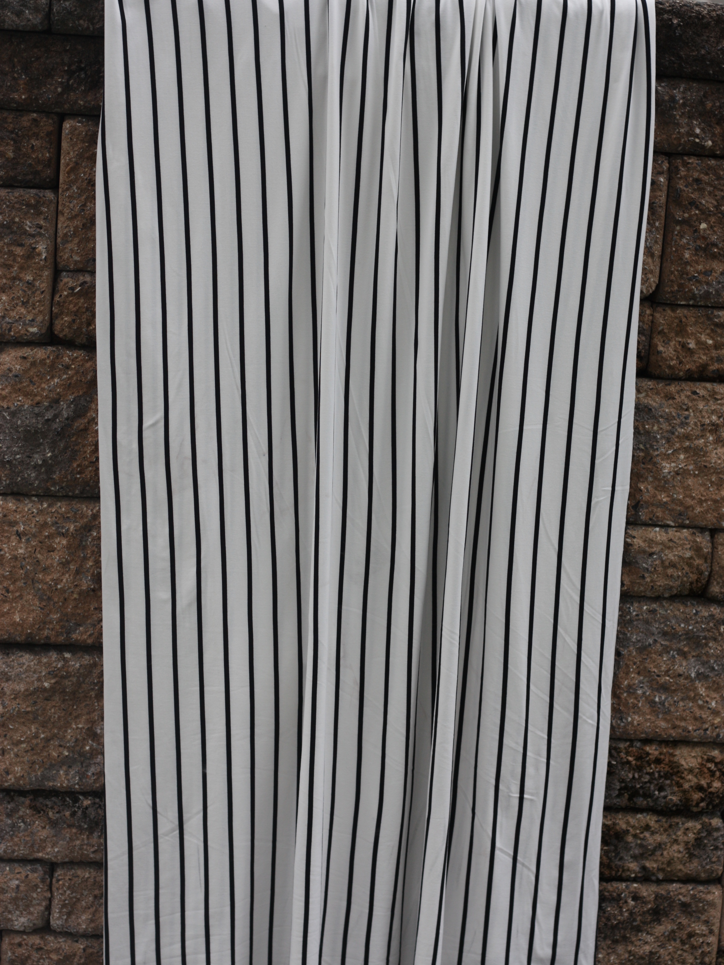 a03f0586cdb Ivory and Black Stripes Double Brushed Poly [by the half yard ...