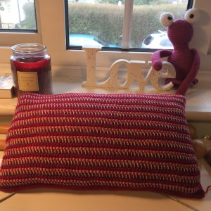 Three colour Tunisian crochet cushion