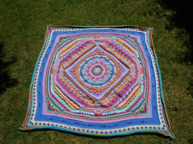 Sophie's universe blanket photographed outside