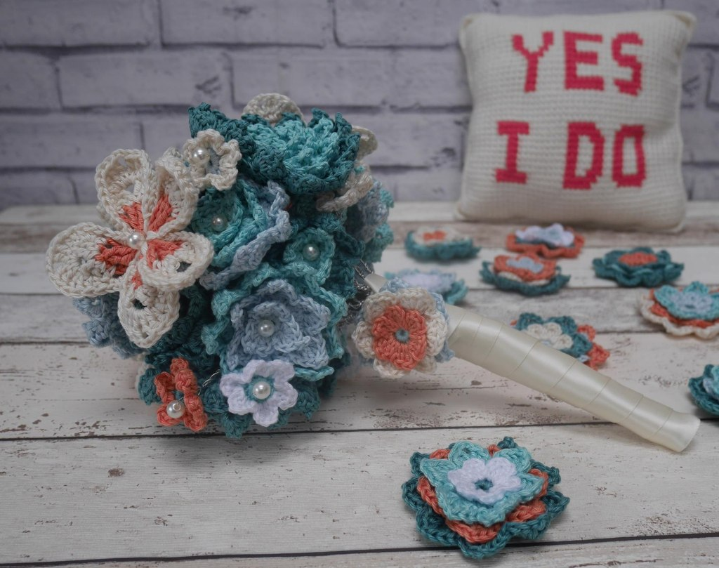 crochet wedding bouquet and ring cushion
