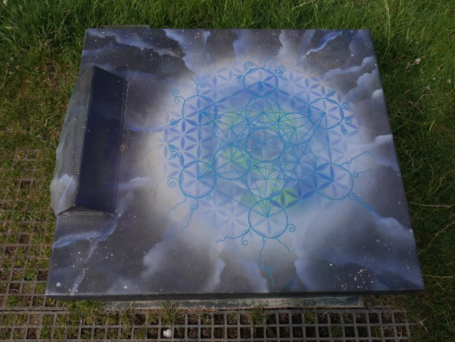 Mandala painted on Glastonbury Tor