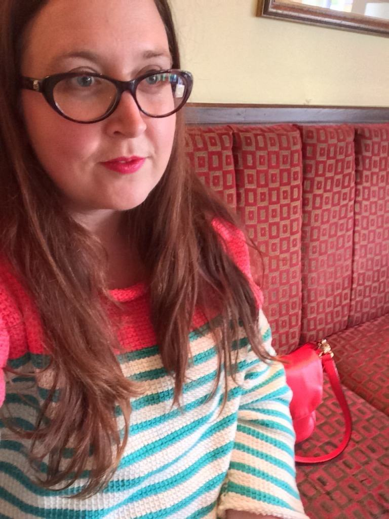Wearing my Tunisian Crochet Jumper