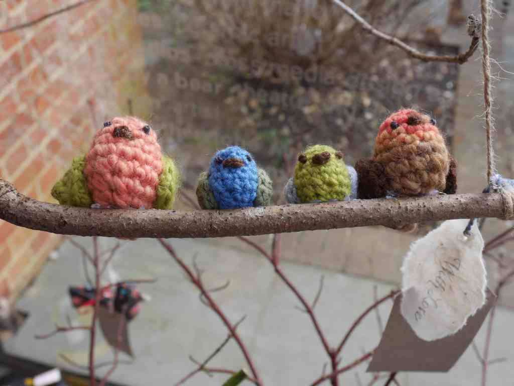 Crocheted birds at Unravel 2017
