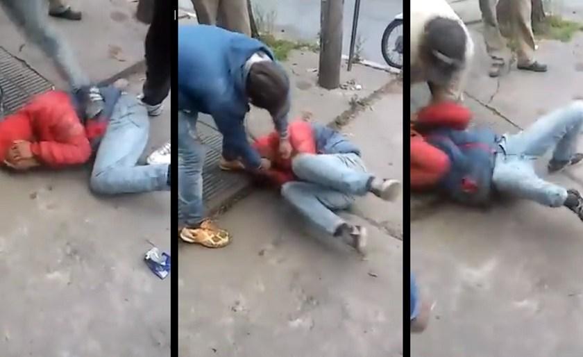Vecinos justicieros atrapan a un delincuente y le dan una brutal golpiza