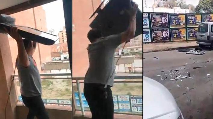"""""""Locura Mundial"""": Un hincha lanzó su TV por el balcón tras la eliminación de Argentina"""