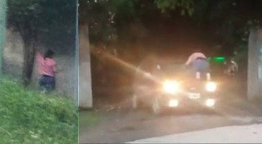 A salida de un hotel alojamiento una mujer ataca al auto donde iban su marido y la amante(VIDEO)