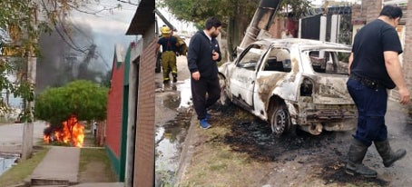 Tras chocar se incendio un auto