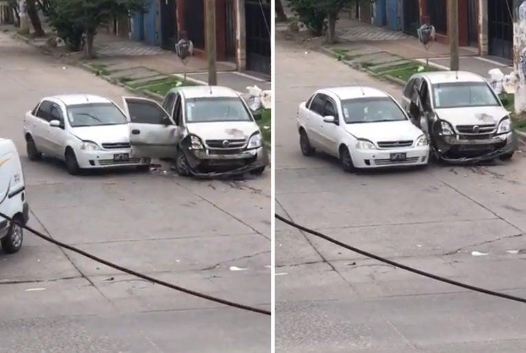 """Destrozó el auto de su ex pareja: """" Lo choco 14 veces """" (VIDEO)"""